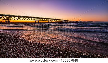 Mackinaw Bridge Sunset. Mackinac Bridge with a sunset horizon at twilight.