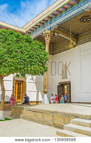 BUKHARA UZBEKISTAN - APRIL 29 2015: Sheikh Naqshband Mausoleum is one of the most interesting historic and religious landmarks in Bukhara suburb on April 29 in Bukhara.