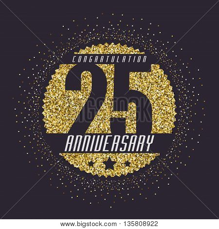 Twenty five years anniversary celebration logotype. 25th anniversary logo.