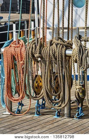 neatly coiled rope on board a sailing ship.