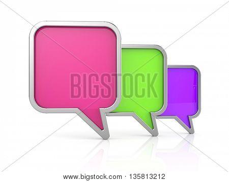 Speech bubbles icon. 3d illustration