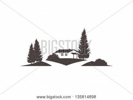landscape vector icon with house road grounds and roads