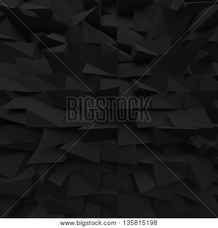 Black abstract squares backdrop. Geometric polygons, as tile wall. Interior room. 3d rendering