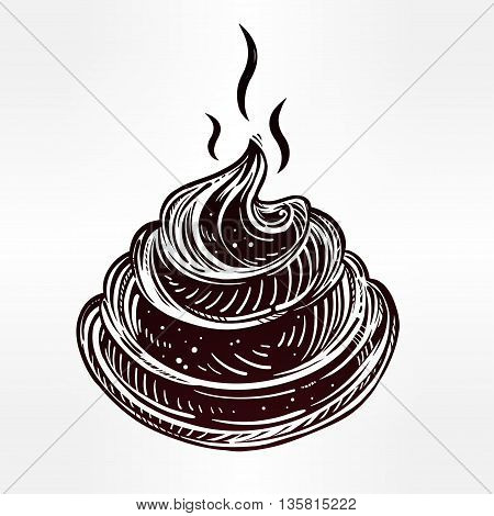 Poo icon in line art style. Isolated vector illustration. Aesthetically nice poop drawing.