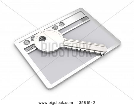 Browser window with a Key. Secure www connection. 3D rendered Illustration. Isolated on white. poster