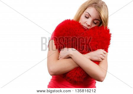 Woman Sad Girl Hugging Red Heart Love Symbol