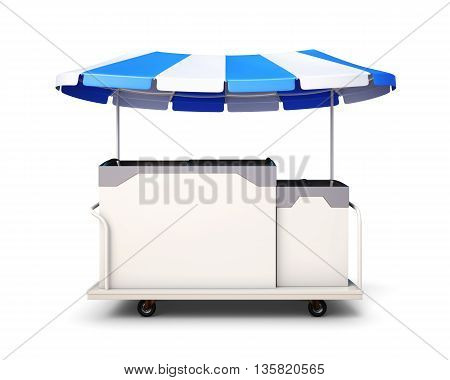 Ice cream cart isolated on white background. Front view. 3drendering.