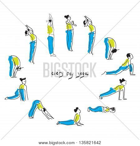 Yoga asana practice with Om symbol in lotus vector illustration.