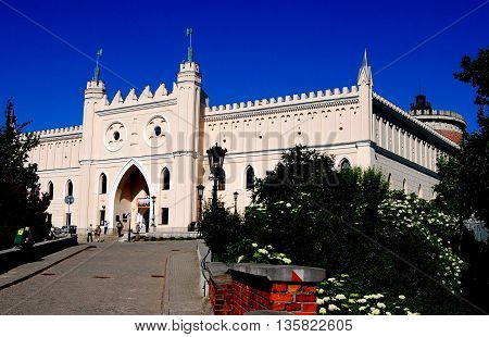 Lublin Poland - June 5 2010: Neo-gothic castle begun in 1824 incorporates parts of the original 14th century royal fortress