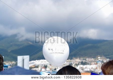 QUITO, ECUADOR - JULY 7, 2015: Nice and gorgeous white balloon with the face of pope Francisco, mass in Ecuador.