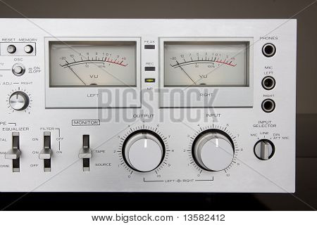 Analog Controls Dashboard with VU meters, knobs and buttons poster
