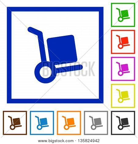 Set of color square framed Parcel delivery flat icons