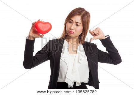 Asian Business Woman Thumbs Down With Red Heart