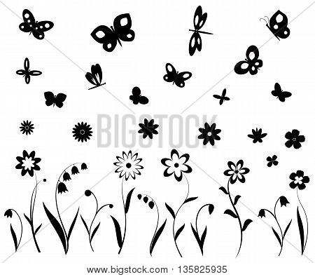 Black and white flowers, butterflies and dragonflies silhouettes. Vector backgrounds, prints, textile decoration.