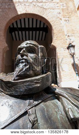 The Statue of Miguel de Cervantes in Toledo Spain