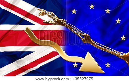 UK and Europe flags bonded together by a financial blackmail and hard conditions. Financial concept for debit blackmail and bond. 3d illustration.