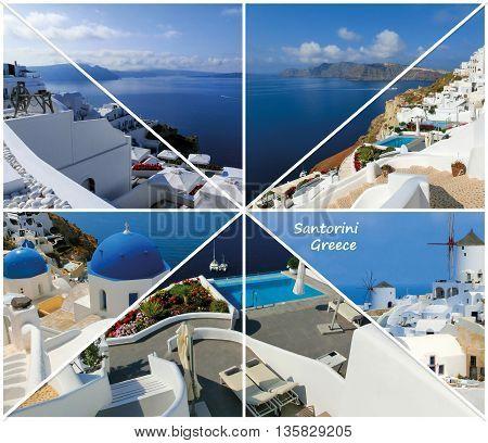 Set of summer photos in Santorini island, Greece