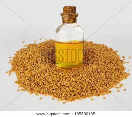 Golden flax seeds and flaxseed oil. Super food.