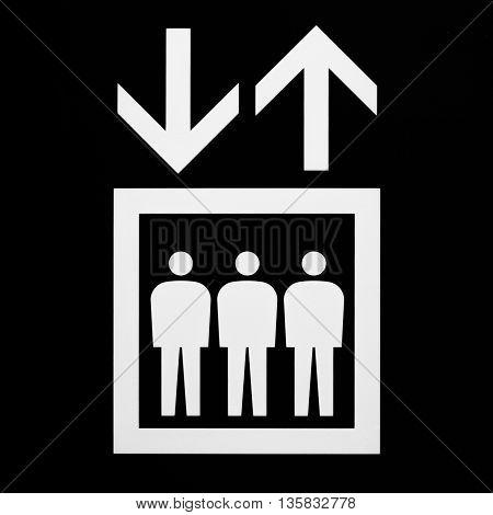 elevator sign - black and white symbol for elevator / lift