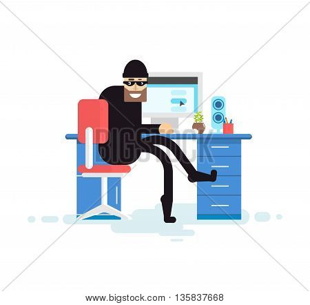 Stock Vector isolated illustration hacker, hacker sits near computer, hacker steals data base