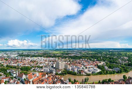 ULM, GERMANY - JUNE 18, 2016: Ulm and Danube river bird view, Germany. Ulm is primarily known for having the tallest church in the world, and as the birth city of Albert Einstein.