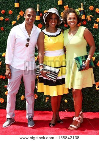 JERSEY CITY, NJ - MAY 30: (L-R) William Bumpus Jr, TV personality Gayle King and Kirby Bumpus attend the Veuve Clicquot Polo Classic at Liberty State Park on May 30, 2015 in Jersey  City, New Jersey.