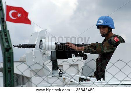 TYR, LEBANON-OCTOBER 21, 2006: Unidentified Turkish UN vehicle on patrol on October 21, 2006 in Tyr, Lebanon