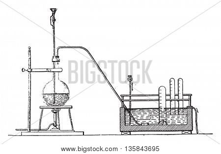 Schloesing apparatus for the determination of the ammoniacal nitrogen, vintage engraved illustration. Industrial encyclopedia E.-O. Lami - 1875.