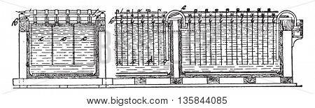 Copper refining bath, after Tofahrn, transverse and longitudinal sections, vintage engraved illustration. Industrial encyclopedia E.-O. Lami - 1875.