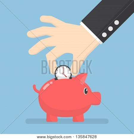 Businessman hand putting clock into piggy bank time management and time saving concept