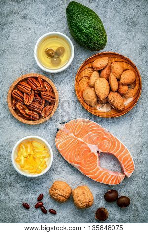 Selection Food Sources Of Omega 3 And Unsaturated Fats. Super Food High Omega 3 And Unsaturated Fats