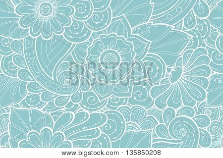 Seamless pattern with stylized flowers. Ornate zentangle seamless texture, pattern with abstract flowers. Floral pattern can be used for wallpaper, pattern fills, web page background.