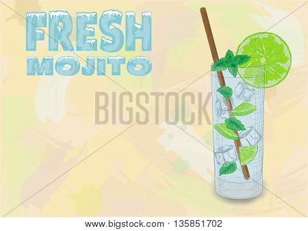Nice Glass Of Ice Cold Mojito On A Black Background. Soda With White Rum, Mint And Lime Diluted With