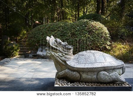 Stone carving of a spritual turtle in Guilin, China