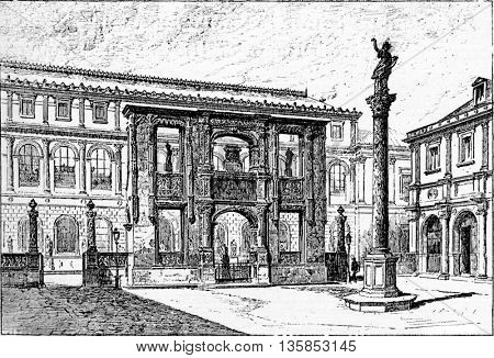 Arch of Gaillon in Gaillon, Haute-Normandie, France. A remnant of the Chateau of Gaillon which was destroyed in 1798. Vintage engraving.
