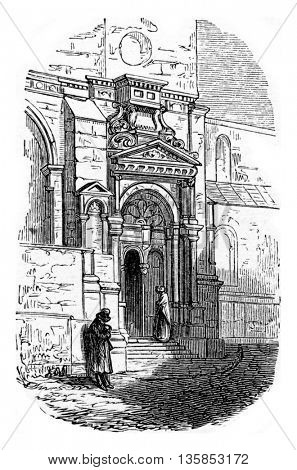 Entrance of the church of Epagny in Haute-Savoie, France. From Chemin des Ecoliers, vintage engraving, 1876.