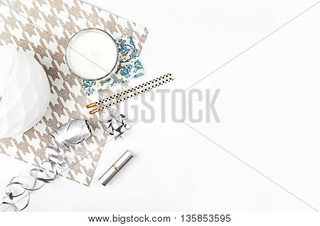 white background table, view table mockup, accessories modern, flat lay