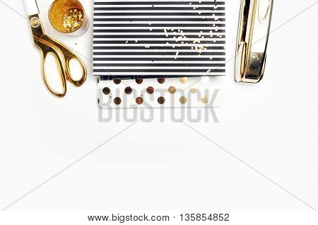 Woman Desktop. Header website or Hero website Mockup product view table gold accessories. stationery supplies. glamour style. Gold stapler.