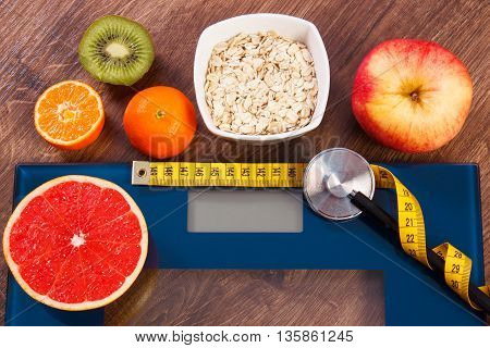 Electronic Bathroom Scale, Centimeter And Stethoscope, Healthy Food, Slimming And Healthy Lifestyles