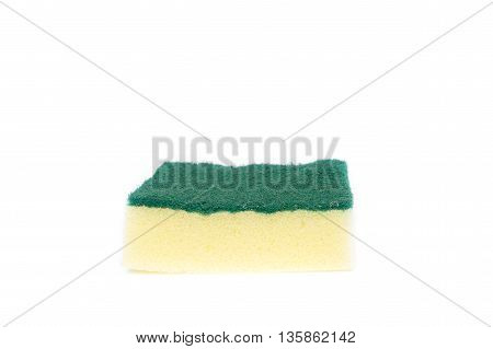 Dishwashing sponge on white background, Select focus front  (Scotch-Brite)
