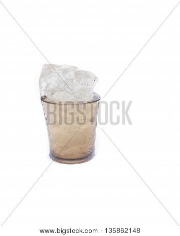 Glass with ice cubes,water Drink  thirsty on White Background.