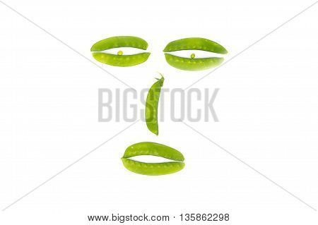 Green peas, sugar Pea, Sweet peas, Garden Pea, snow peas on white background( Sweet peas Picture faces Creative Health idea)