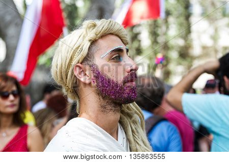 Tel-Aviv Israel - June 3 2016: Annual Gay Pride Parade and Week of Proud celebrations on the streets June 3 2016 in Tel Aviv Israel. Participants of the parade through the streets of Tel Aviv.