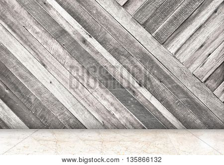 Empty Room With Diagonal Wooden Wall And Marble Floor Room,template Mock Up For Your Content