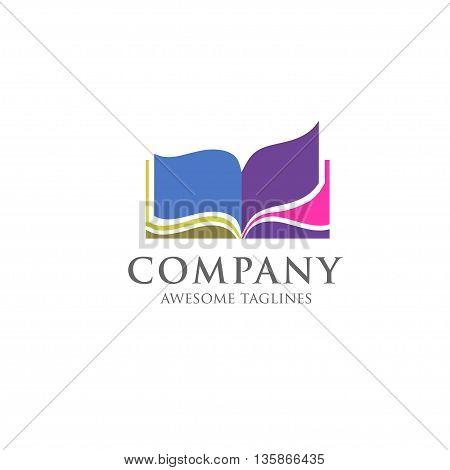 creative open book logo vector , Book color logo. School books. Education books