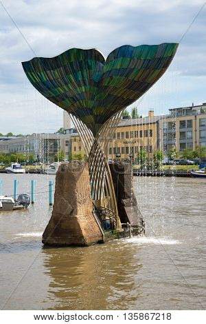 TURKU, FINLAND - JUNE 13, 2015: A fountain-sculpture