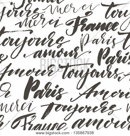 Modern brush calligraphy. Isolated on white background. Paris France toujours amour merci bonjour. Always love thank you and hello in french.