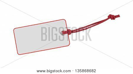 Etiquette with red bord and ribbon isolated on white