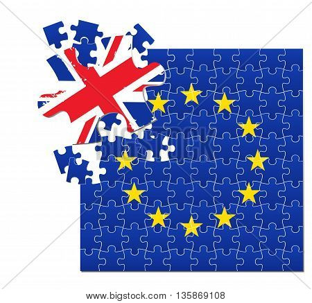 Vector illustration of European Union flag divided into jigsaw puzzle pieces with separated part colored with UK flag symbolizing BREXIT EPS 10