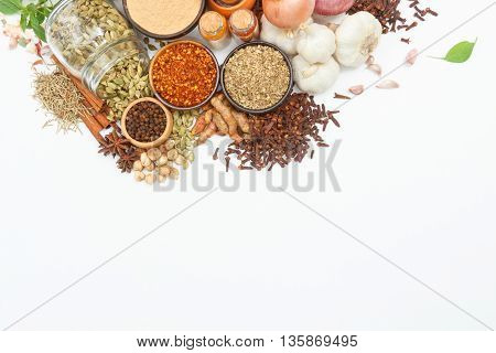 Spices And Herbs For Cooking Background And Design,top View Spics And Herbs On White Background,spic